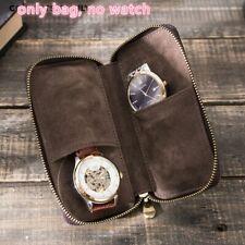 2 Slot Genuine Leather Watch Pouch Watch Case Travel Storage Case Organizer Bag
