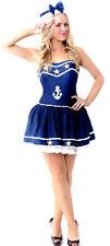 Womens Star Sailor Navy Pirate Mariner Ladies Fancy Dress Costume Size 8 - 10