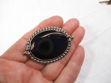"""Large Vintage Signed 1992 Sterling Silver Oval Black Onyx Brooch-2 1/8"""" Pin"""