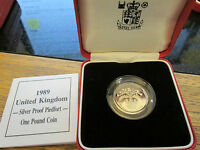 UK 1989 £1 PIEDFORT SCOTTISH DESIGN SILVER PROOF - boxed/coa GREAT CONDITION Cc1