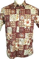 Tori Richard Men's M Brown Hawaiian Shirt, Mandala Floral, Blue, Green, Apricot
