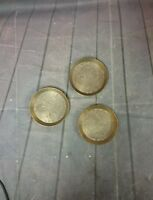 3 Vintage Brass Trinket Tray Etched Floral Round Stamped Made In India 132.J.