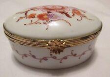 Vtg Limoges Oval Trinket Ring Box Gilt Mounted France Hand Pntd Floral on White