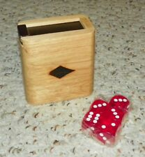 Wooden Dice Box / Dice Cup - w/ Five Dice - NEW
