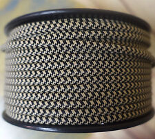 Black/Tan 2-Wire Flat Cloth Covered Cord, 18ga, Vintage Style Lamps Nylon Fabric
