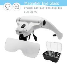 Casque Loupe Frontale 2 LED Lampe 5 Lens Réparation Travail Precision Magnifier