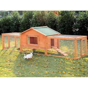 PawHut Rabbit Cage Hutch Large Wooden Chicken Coop Pet House Habitat w/ Ramp Run
