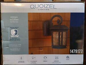 """Quoizel Corrigan 13.25"""" H Matte Black Medium Base Outdoor Wall Light 1479177"""