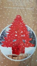 RED METALLIC FOIL CHRISTMAS TREE HANGING DECORATIONS