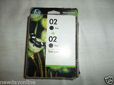 NEW HP 02 OEM Black InkJet Cartridges 480-Page C5180 C8180 3310 AIO 8250 C9500FN