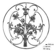 panneau grille pour décoration avec fleurs et feuilles fer forgé ferronnerie