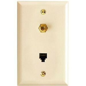 NEW PHILIPS PH61036 SINGLE OUTLET COAXIAL PHONE OUTLET WALL PLATE BEIGE 9489865