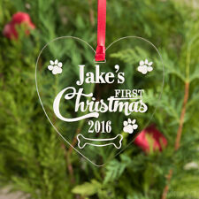 Pet Puppy's First Christmas Bauble Personalised Tree Decorations Dog's 1st Xmas