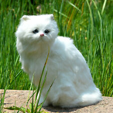 Lifelike White Cat Realistic Furry Kitten Home Decoration Xmas Gift Photo Prop