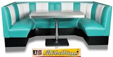 HW120/120 American Furniture Diner Bench Corner Seat bänk Retro USA Catering