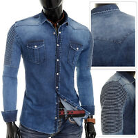 Men's Thick Denim Shirt Stretch Blue Jeans Slim Fit Clips Snap Ribbed UK SIZE