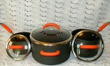 RACHEL RAY 6 Pc Hard Anodized STOCK POTS w LIDS Drk Gray Orange 6 QRT & Smaller