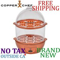 New Copper Chef PERFECT EGG MAKER 7 Eggs Cooker Poached Omelette Warm Rack (TV)