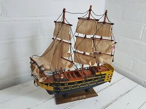 Model Sailing Ship The Grand Turk On Stand Wood Metal Decal 28cm Length