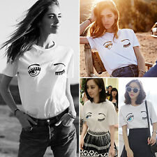 Sexy Women Blouse Tops Shirt Graphic Print Loose Short Sleeve Tee T-Shirt Party