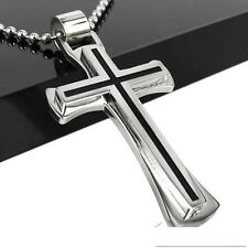 Silver Black Cross Stainless Steel Mens Ball Chain Pendant Necklace