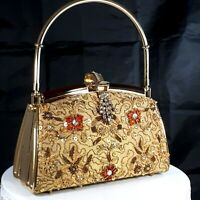 Vtg Art Deco Purse Evening Bag Designer Gold Rhinestones Beaded Metal Handle