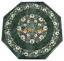 """18"""" Marble Green Coffee Table Top Mother Of Pearl Inlay Stone Home Decors B190"""
