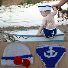 Fashion Newborn Boy Girl Baby Costume Knitted Photography Props Hat Pants