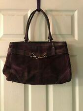 Coach Suede Purple Leather Handbag with Coach Logo Interior- Gorgeous!