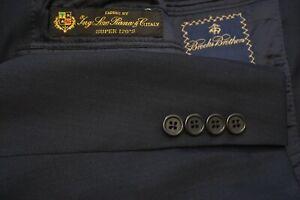 Brooks Brothers Navy Blue Herringbone Striped Loro Piana S120s Wool 2Pc Suit 40R