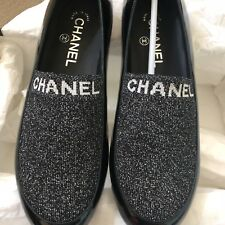 New CHANEL Dark Gray Patent Leather Flat Textile Shoes Sz 38 Italy