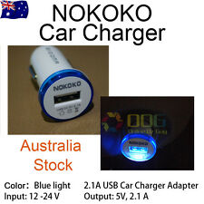 NOKOKO Single USB Car Charger 2.1A For Samsung iPhone Android Phone Blue Light