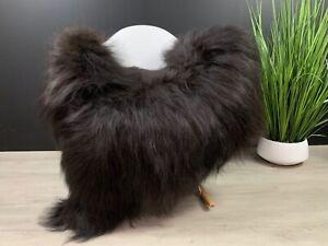 Large Black Icelandic Sheepskin Rug Natural Cover Seat Throw Blanket