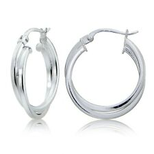 Sterling Silver Square-Tube Intertwined 25mm Double Round Hoop Earrings