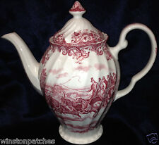 JOHNSON BROTHERS COACHING SCENES PINK COFFEE POT 54 OZ SWIRL SHAPE RIM REGENCY