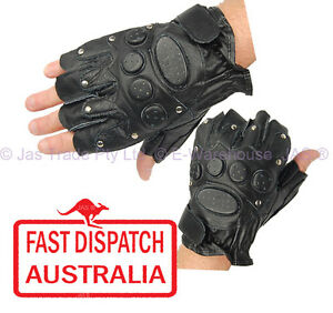 Leather Fingerless Sports Bike Gloves Black Goth Punk Stud Studded Padded Black