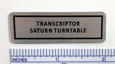 Transcriptor Saturn Turntable Silver custom replacement badges