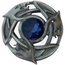 TE Men's Celtic Serpent Kilt Fly Plaid Brooch Blue Stone Silver Antique/Scottish