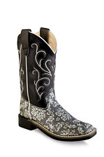 Old West Kids Western Cowboy Boots Pull On Floral Print Leather Square Toe Black
