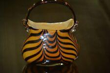 "Art Glass Purse Pulled Feather Amber with Black Feathers 8 1/4"" tall"