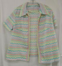 Vintage Polyester Short Sleeve Open Pastel Colors Weave Shrug Cardigan