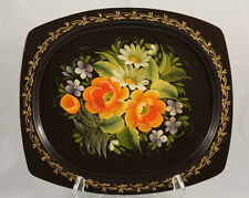 Vintage Floral Metal Tray Black Toleware Hand Painted Collectible Decorative