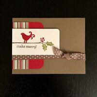 Stampin' UP! Handmade CHRISTMAS Holiday Card Stamped Greeting + Envelope