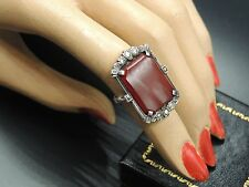 Antique Art Deco Ring Carnelian S7 Rectangular Cut Sterling Marcasites