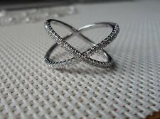 Sparkling QVC Diamonique cz Sterling/Platinum clad Cris Cross Band Ring-sz 9