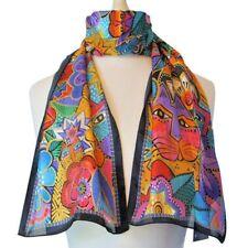 """Laurel Burch Laurel's Garden Cats Jewel-Tone Art 100% Silk Scarf 11"""" x 53"""""""