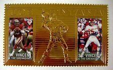 St Vincent JOE MONTANA Gold Stamp 23kt Gold Football Stamp 1996 mnh Sports