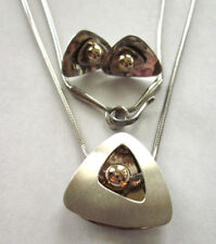 """Signed Ed Levin Sterling Silver 14K Gold 18"""" Necklace and Matching Earrings"""