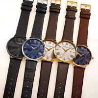 Men's Akribos XXIV AK1041 Classic Quartz Date Guilloche Dial Leather Strap Watch