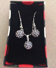 Silver Tone Charcoal Grey 8mm Shamballa Bead Pendant Necklace &  Earrings Set